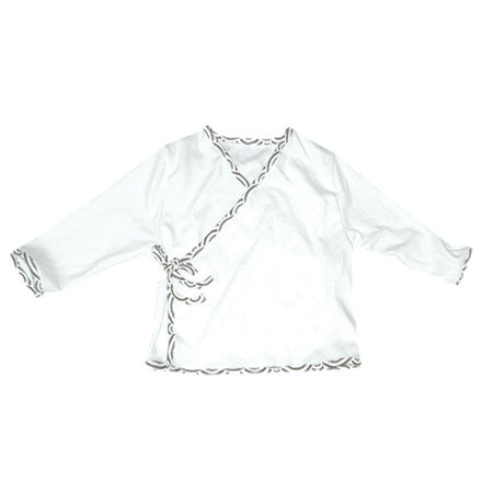 Unisex criss-cross baby top in white and brown