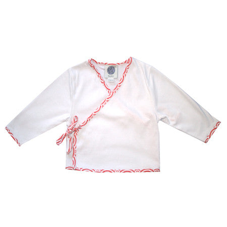 Baby Japanese cross top in white and orange