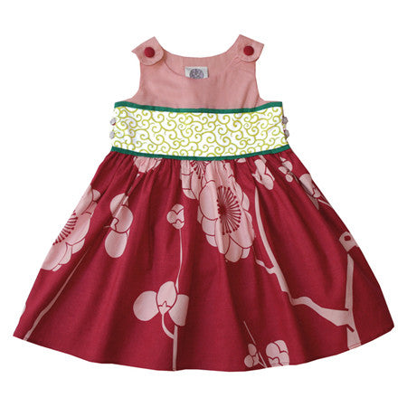Noko Baby Brand Michi Dress  - beautiful baby dress with rose top, big pink flower skirt and green obi-like sash