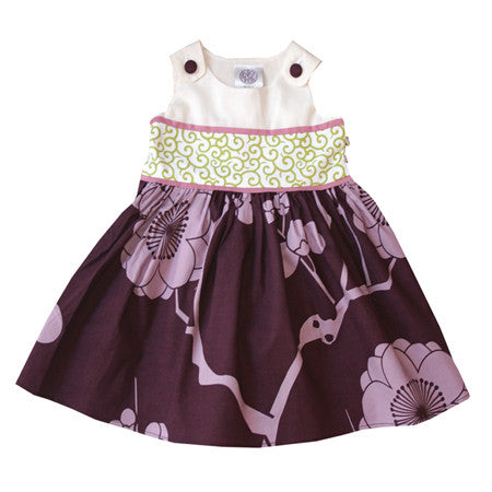 Noko Baby Brand Dress  - beautiful baby dress with white top, purple flower skirt and green obi-like sash