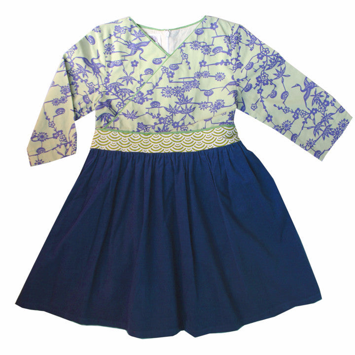 blue and lime Japanese kids dress