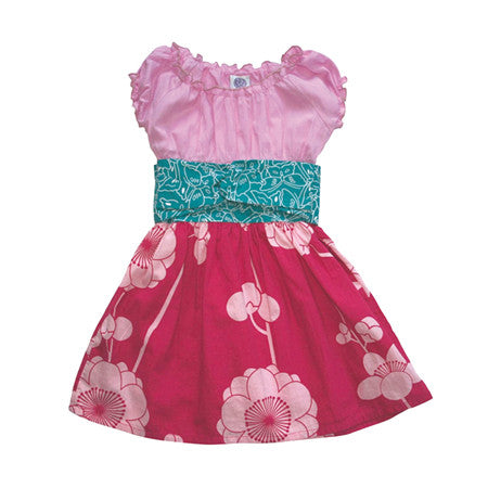 Noko Baby Brand Nico Dress - Baby and Girls dress with pink top and dark pink flower skirt and teal obi-like sash