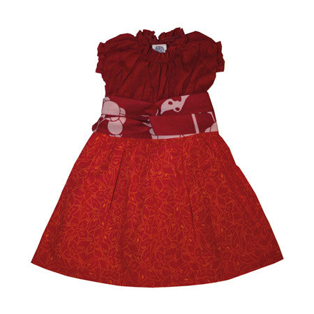 Noko Baby Brand Nico Dress  - Baby and Girls dress with red top and pink butterfly skirt and obi-like sash
