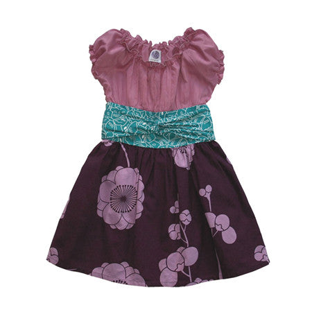 Noko Baby Brand Nico Dress - Baby and Girls dress with lilac top and purple flower skirt and teal obi-like sash