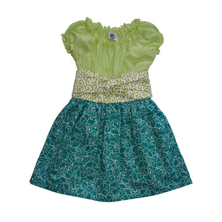 Noko Baby Brand Nico Dress  - Baby and Girls dress with light green top and teal butterfly skirt and obi-like sash