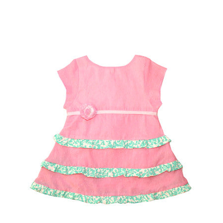 Pink ruffled baby dress with Japanese tenugui