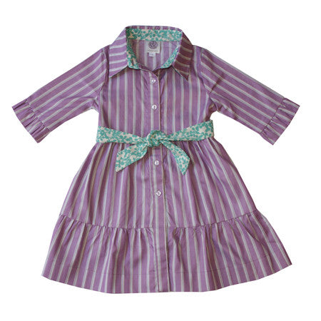 Noko Baby Brand Sotoko Dress in lilac stripe for girls