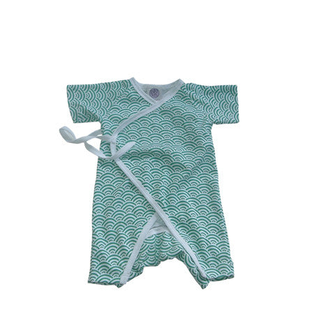 Noko Baby Brand Shimoda Suit - Newborn outfit in Aqua Japanese wave pattern