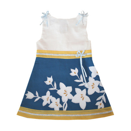 Noko Baby Brand Sora Dress in blue flower for girls