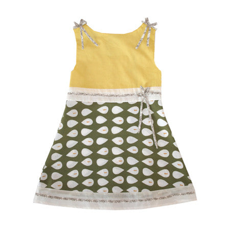 Noko Baby Brand Sora Dress in green graphic for girls