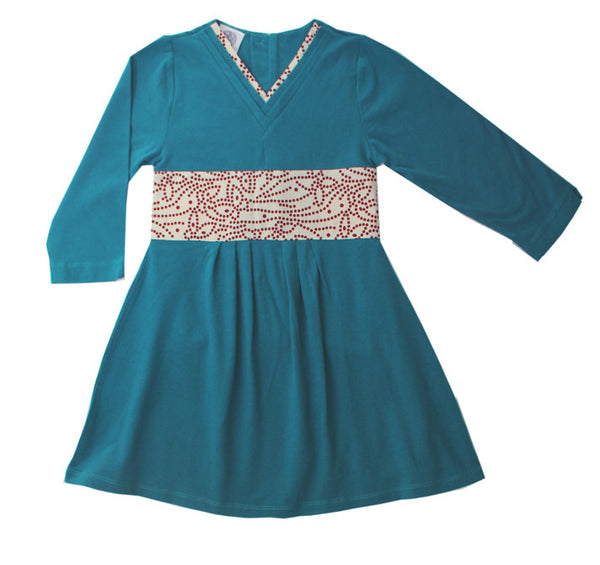 Teal knit Japanese girls dress