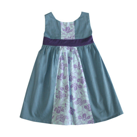 Noko Baby Yama Dress in slate gray with purple iris Japanese tenugi, in sizes (12-18m) through (6y)