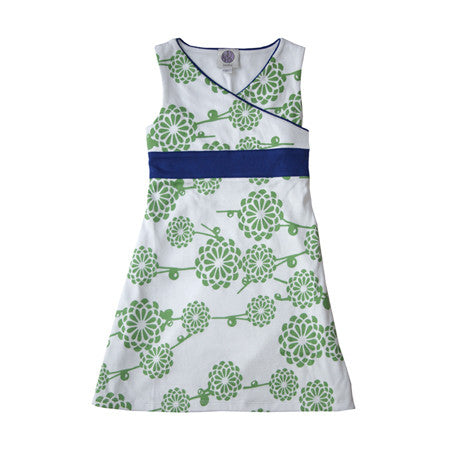 Noko Baby Yuko Dress, kimono style with green Japanese mum pattern in soft Peruvian cotton knit.