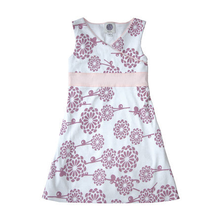 Noko Baby and Girls Yuko Dress, kimono style with violet mum pattern and pink sash in soft Peruvian cotton knit.