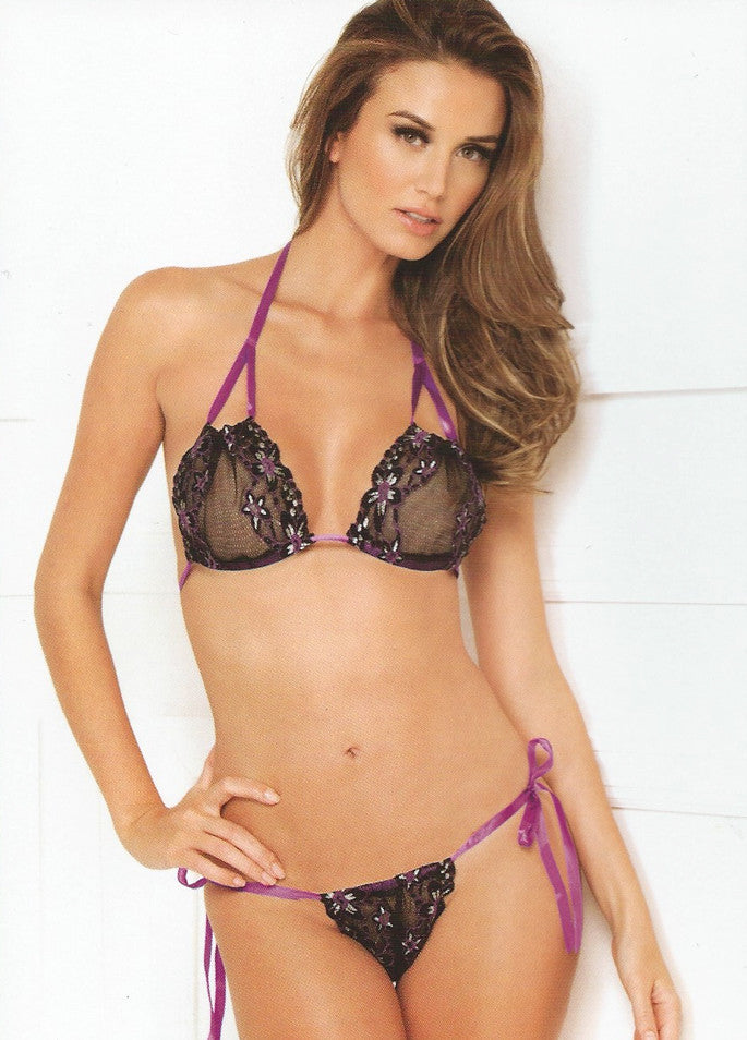 Candy Wrappers Lingerie - Rene Rofe Bra & Thong Set, Black