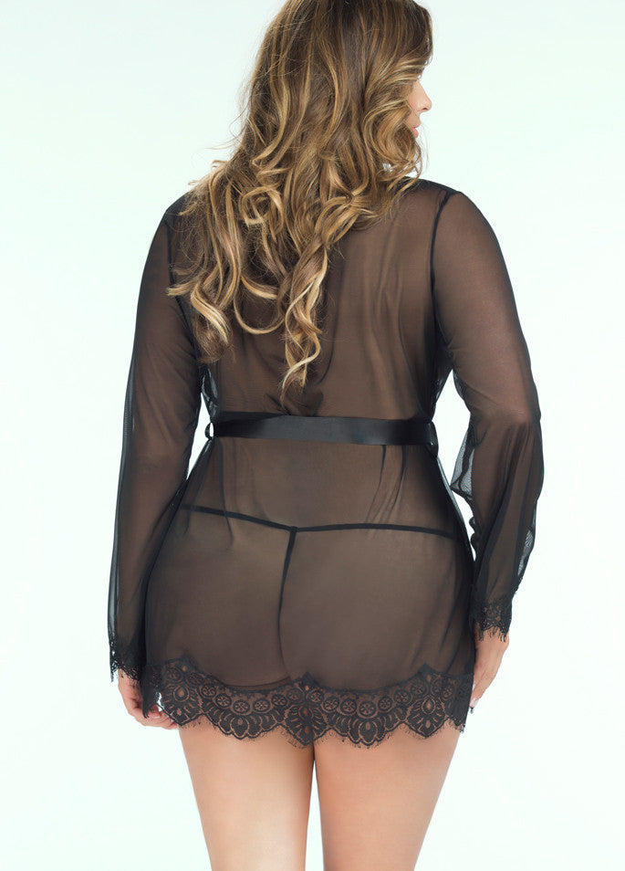 Candy Wrappers Lingerie - Oh La La Cheri Robe & G-String, Curvy, Black
