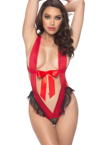 Oh La La Cheri Sequinned 2 Pc Set, Bralette and Panty, Black and Red