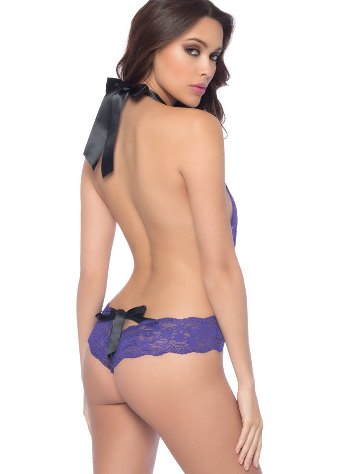 Oh La La Cheri V-Plunge Teddy With Lace Detail And Tie Back, Purple and Black