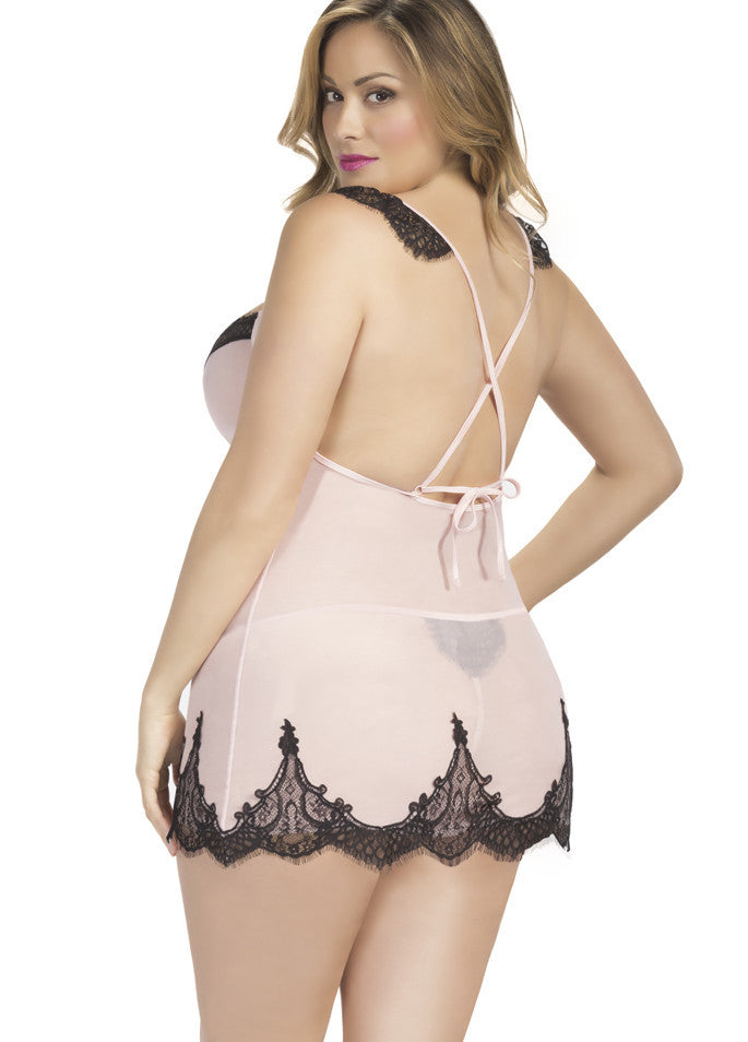Candy Wrappers Lingerie - Oh La La Cheri Chemise w/ G-String, Curvy, Pink