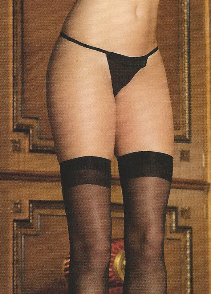 Candy Wrappers Lingerie - Rene Rofe Cuban Thigh-Highs, Black
