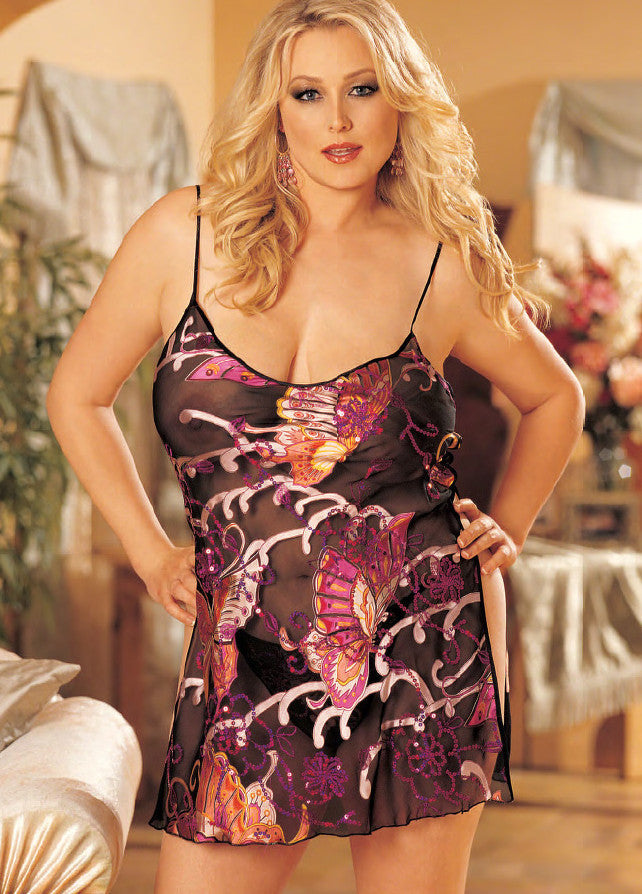 Candy Wrappers Lingerie - Shirley of Hollywood Silk Chemise, Curvy