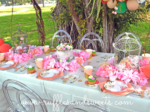 birdcages, flowers, party supplies