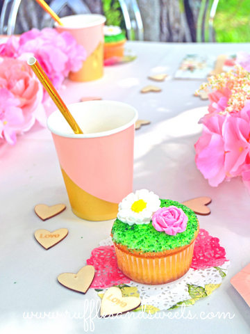 flower cupcake, goddess party supplies, wood confetti
