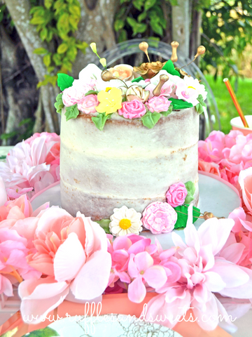 naked cake, bridal shower, flowers,