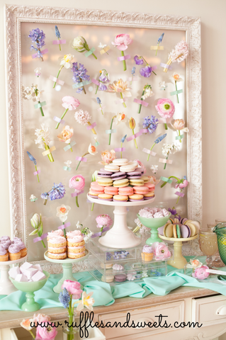 flower backdrop diy, party, dessert table