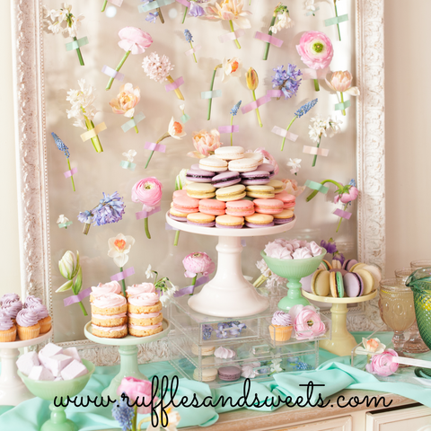 pretty party, tea party, fresh flowers, macarons