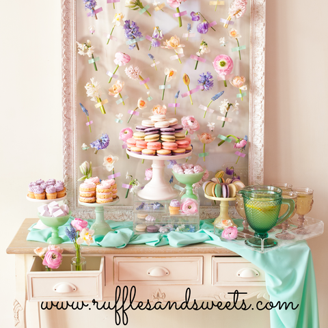 pretty birthday, flower backdrop, macarons, tea party