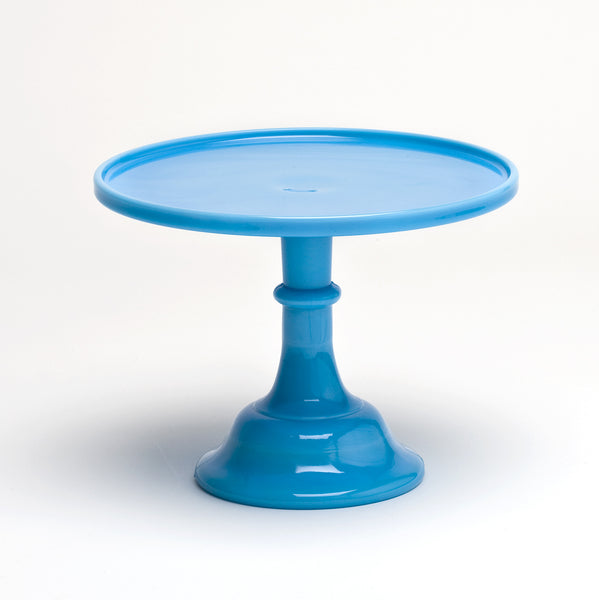 Milk Glass Cake Stand - Blue 10""