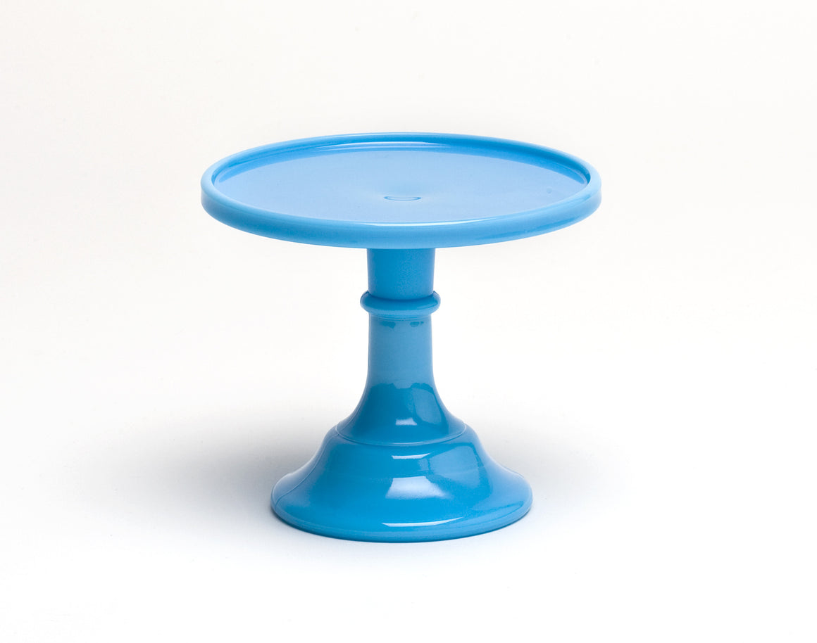 Milk Glass Cake Stand - Blue 6""