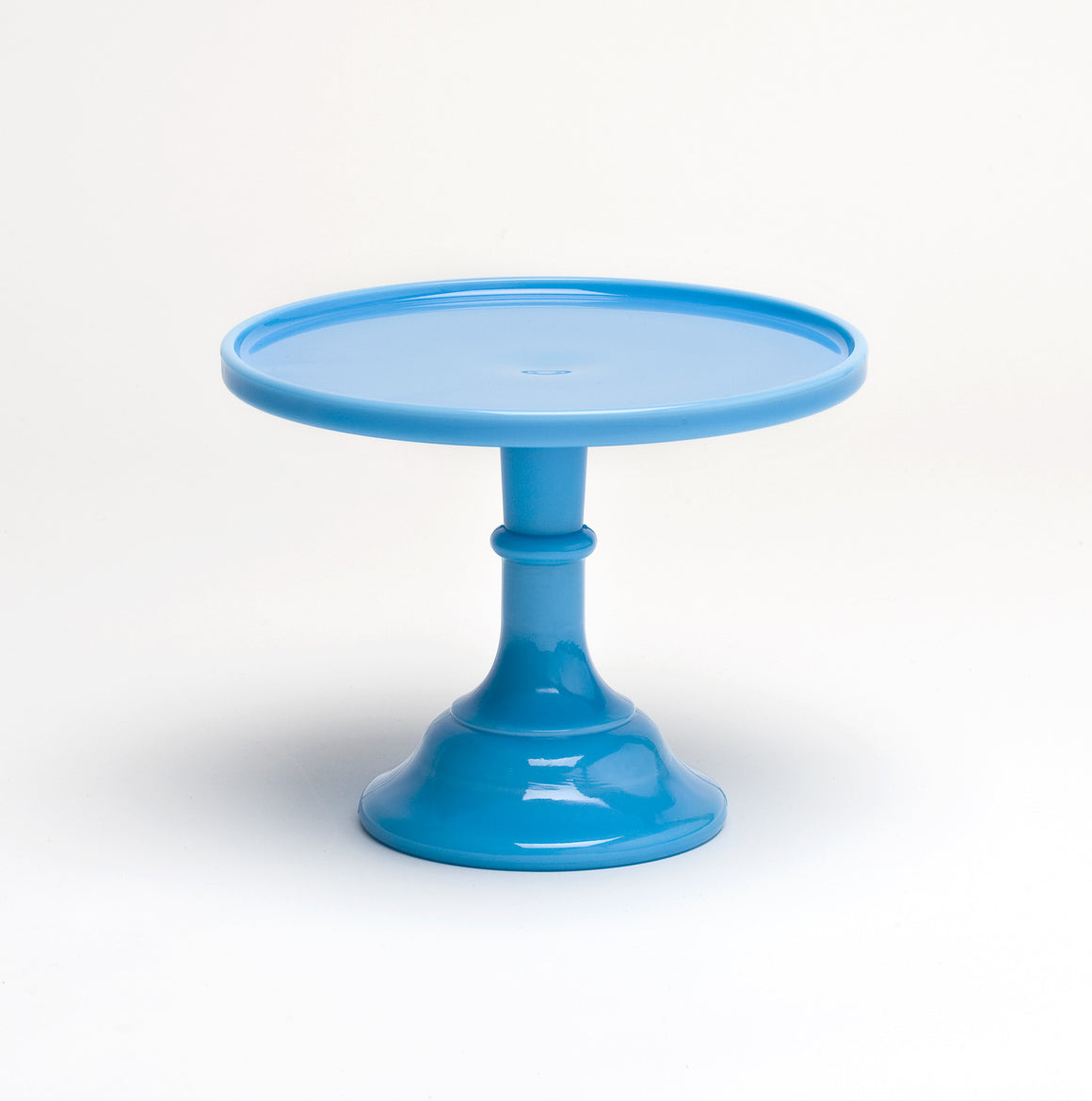 Milk Glass Cake Stand - Blue 9""