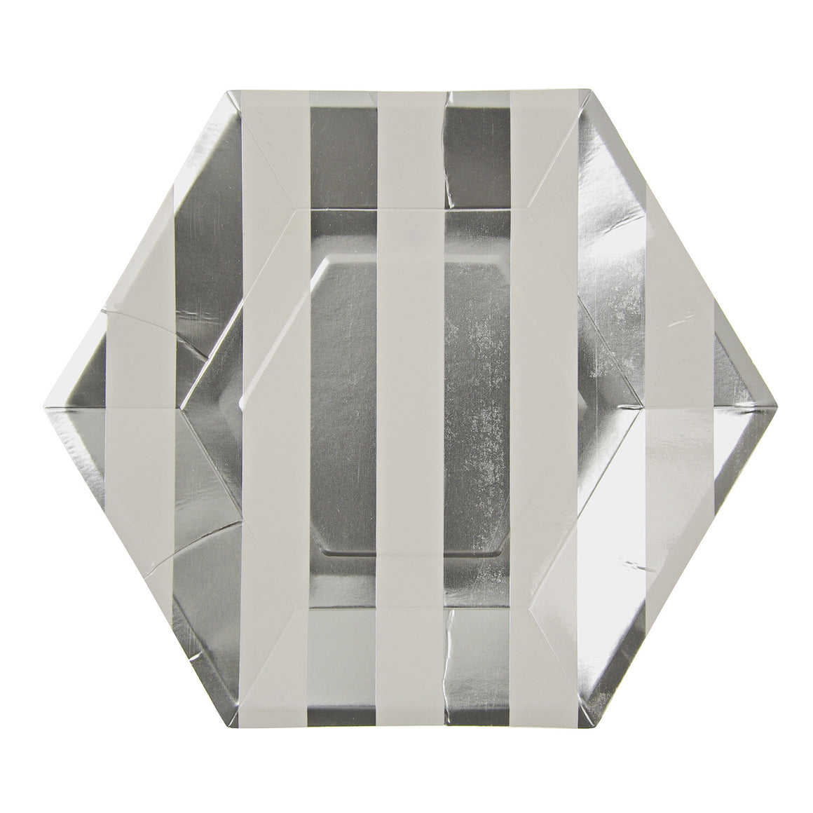 Silver Hexagon 8 Large Plates