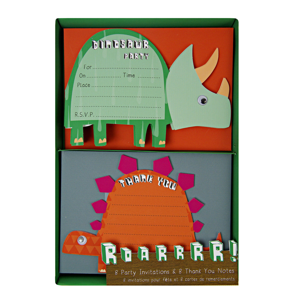 Dinosaur 8 Invitations and 8 Thank You Notes