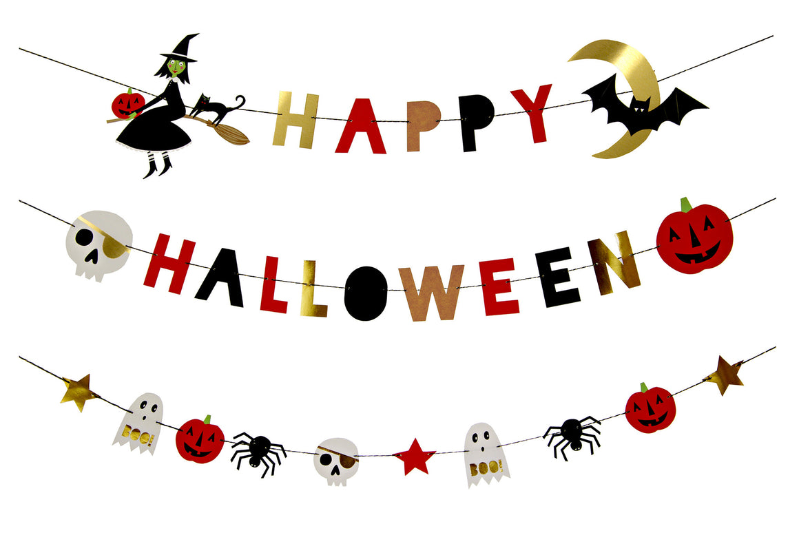happy halloween, garlands, witch, bat, pumpkins, skeleton
