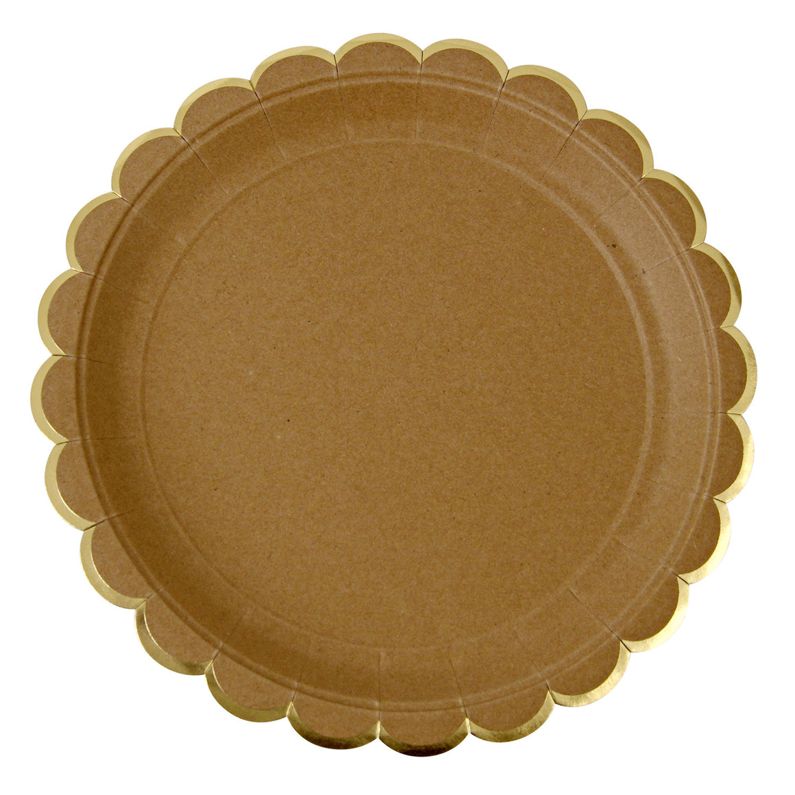 kraft plates, kraft, natural, scallop