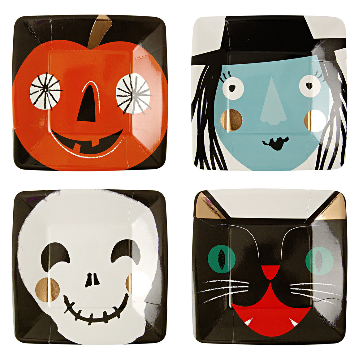 halloween, pumpkins, witch, skeleton, black cat
