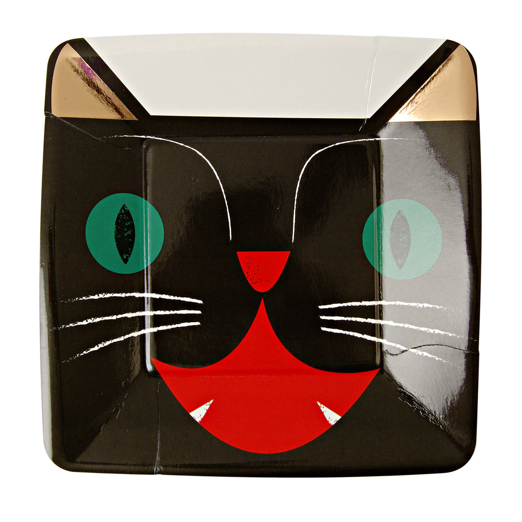 halloween, black cat, plates
