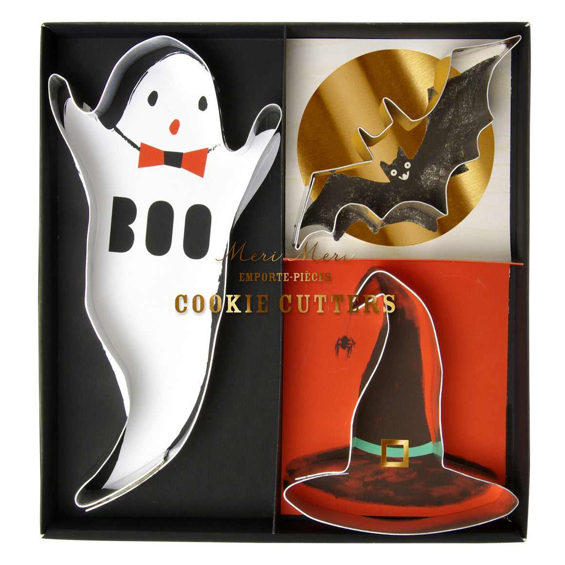 halloween, cookie cutters, ghost, witch hat, bat