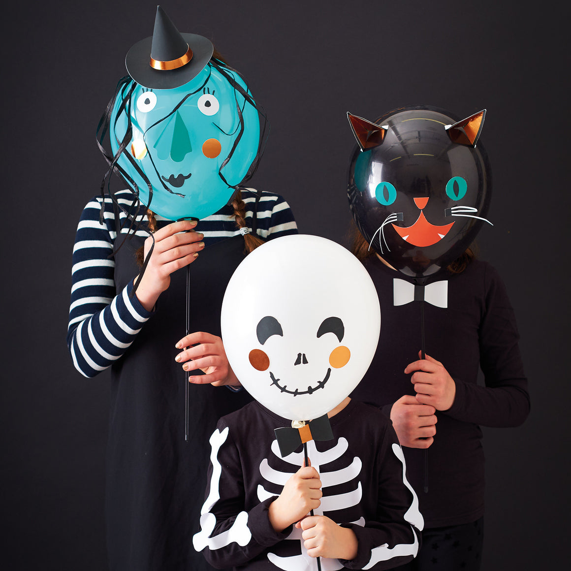 halloween, witch, cat, ghost, balloons