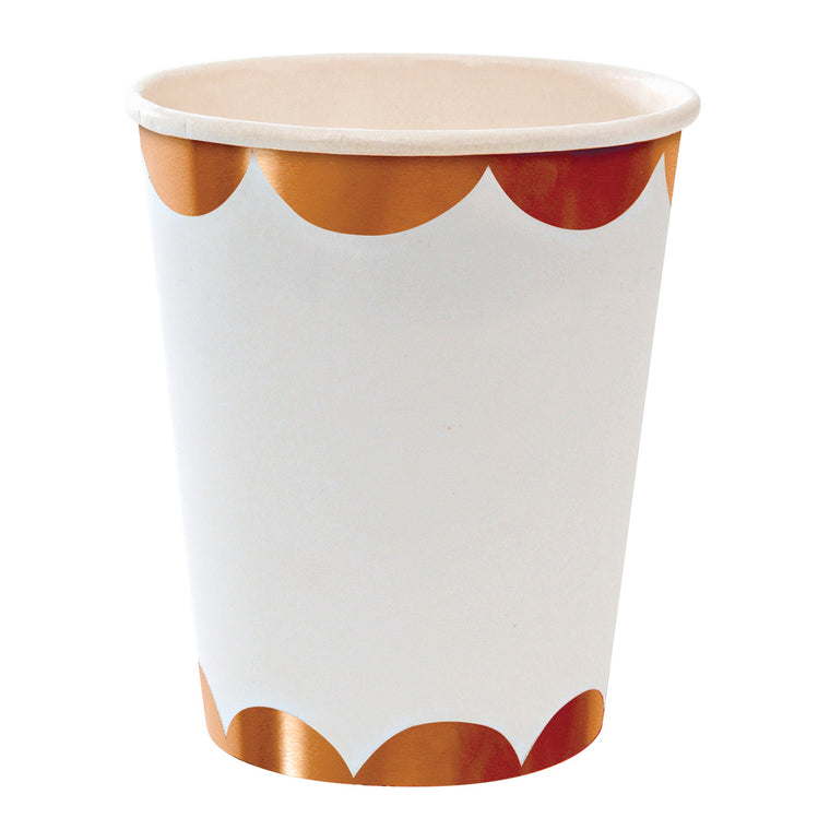 Rose Gold Scalloped 8 Party Cups