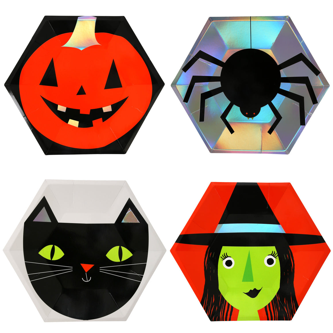 halloween, pumpkins, witch, spiders, black cat plates