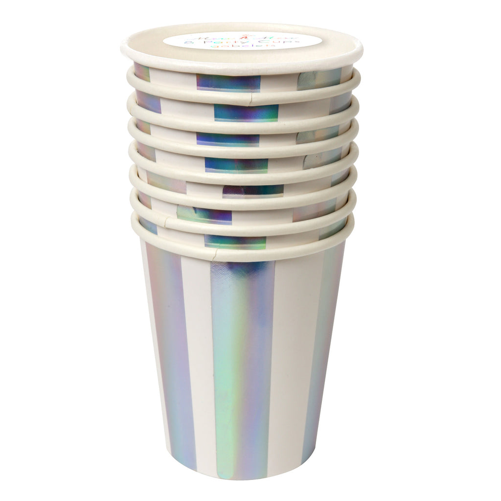 Silver Stripe 8 Party Cups