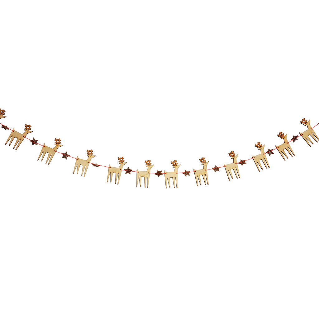 Wooden 15 Reindeers Mini Garland