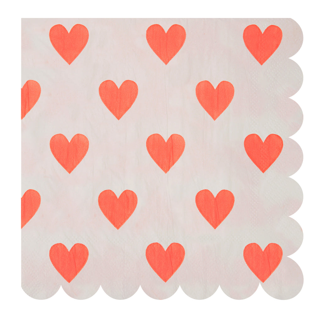 Pink Hearts Pattern Large 20 Napkins