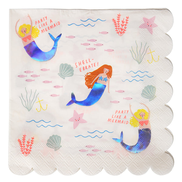 Let's Be Mermaids Large 16 Napkins