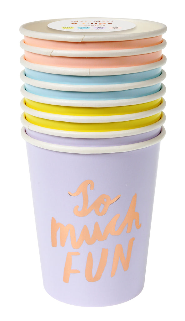 Modern Writing Rose Gold 8 Party Cups