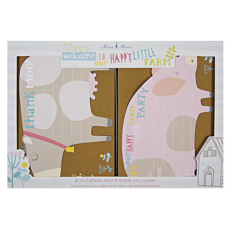 Happy Little Farm - 8 Invitations & 8 Thank you